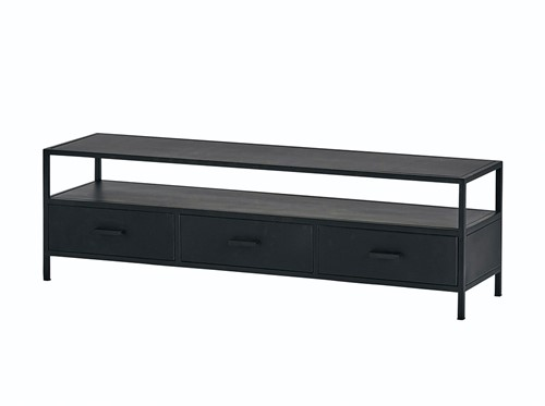 Tv dressoir 150 met 3 lades - Black Metal Collection