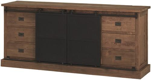 Beethoven dressoir met 6 lades en 2 schuifdeuren - Industrial Teak Compositions