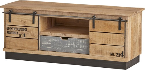 Tv dressoir met 2 schuifdeuren, 1 lade en 1 open vak - Country Collection