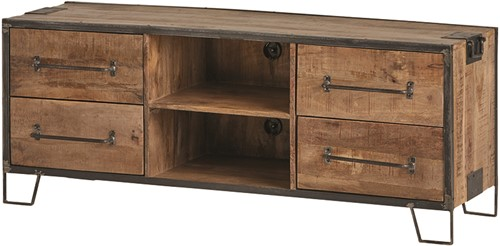 Tv dressoir 150 met 4 lades en 2 open vakken - Angles Collection