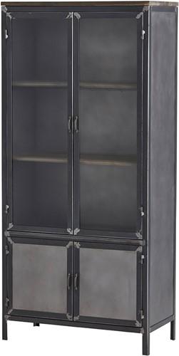 2 deurs kast big met glazen deuren en dichte onderkant - Ferro Collection