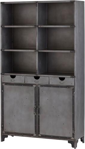 Boekenkast met 2 deuren, 2 lades en 6 open vakken - Ferro Collection