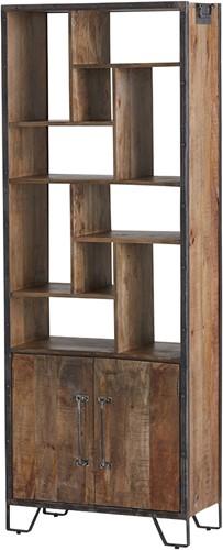 Boekenkast met 2 deuren en 10 open vakken - Angles Collection