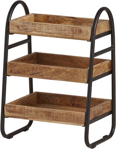 Tijdschriftenrek met 3 houten bakken - New Bestseller Collection
