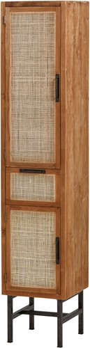 Boekenkast natural met 2 deuren en 1 lade - Webbing Collection