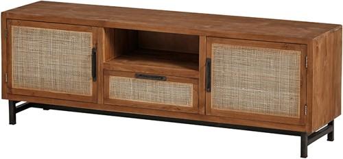 Tv dressoir natural 160 met 2 deuren, 1 lade en 1 open vak - Webbing Collection