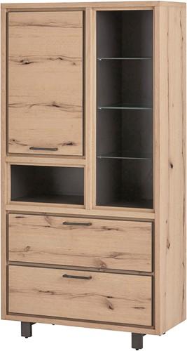 Vitrinekast met 1 deur, 2 lades en 5 open vakken - Xavi Oak Collection