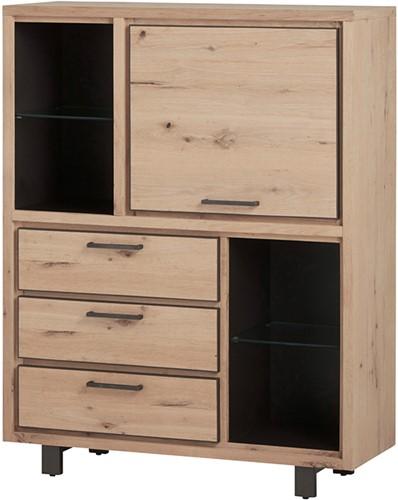 Barkast met 1 deur, 3 lades en 4 open vakken - Xavi Oak Collection